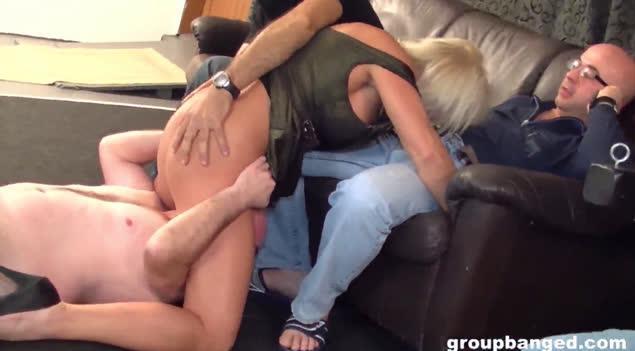 GroupBanged – Mature Blonde  – Lady Gets Groupbanged